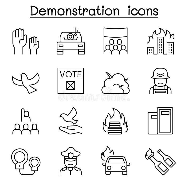 Protest tumult, val, gensaga, demonstrationssymbolsuppsättning i den tunna linjen stil royaltyfri illustrationer