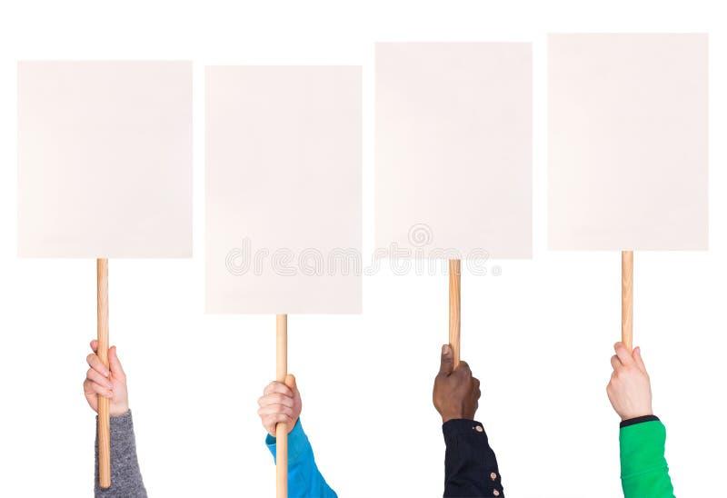 Protest unterzeichnet herein Hände lizenzfreie stockfotografie