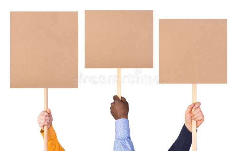 Protest unterzeichnet herein Hände lizenzfreie stockbilder