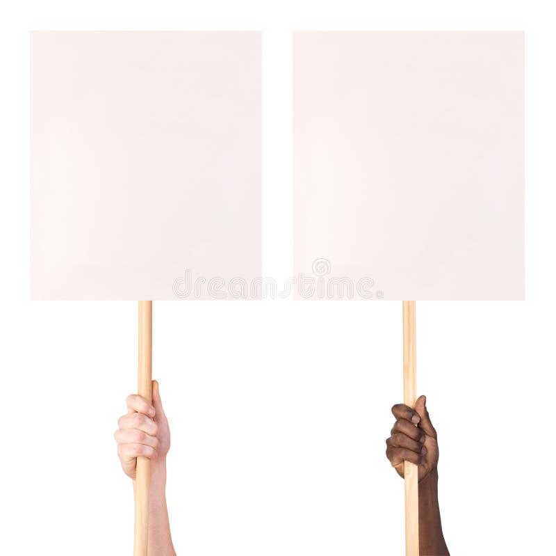 Protest unterzeichnet herein Hände lizenzfreies stockbild