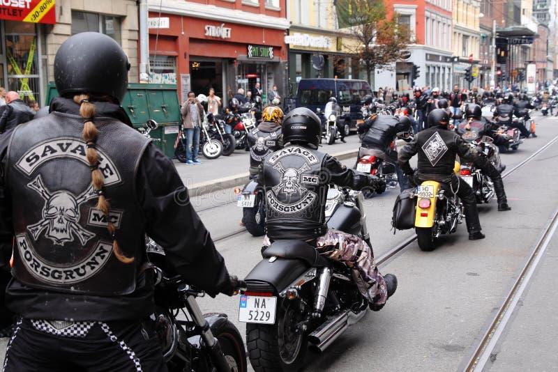 Protest van motorfietsclubs Oslo royalty-vrije stock foto's