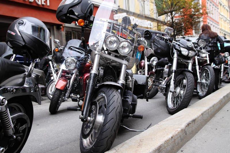 Protest van motorfietsclubs Oslo stock foto