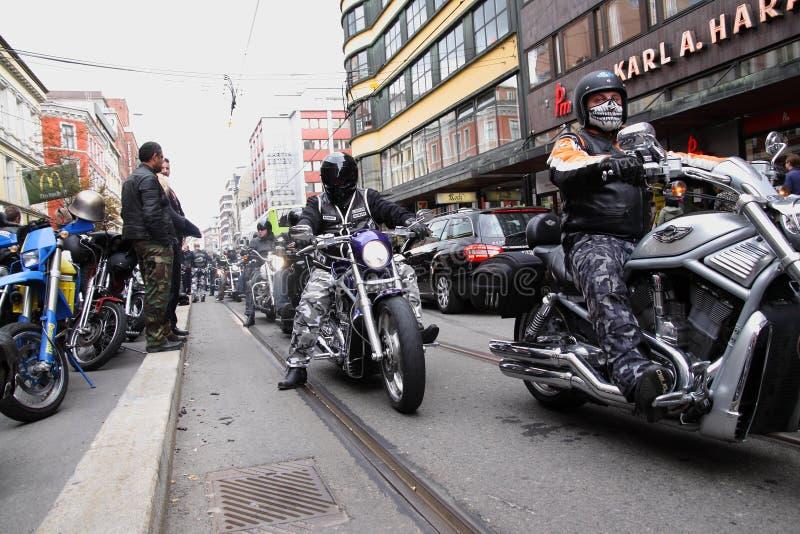 Protest van motorfietsclubs Oslo stock fotografie