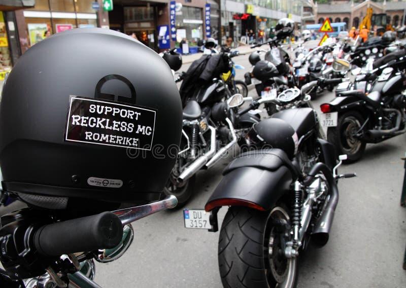 Protest van motorfietsclubs Oslo royalty-vrije stock afbeelding