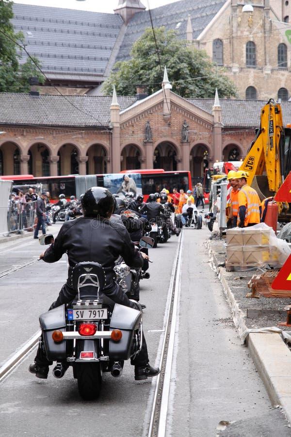 Protest van motorfietsclubs Oslo stock afbeelding