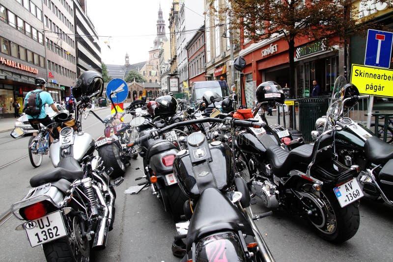 Protest van motorfietsclubs Oslo stock afbeeldingen