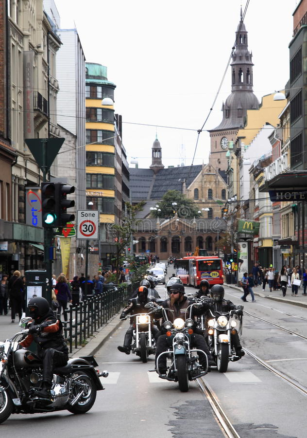 Protest van motorfietsclubs Oslo royalty-vrije stock fotografie