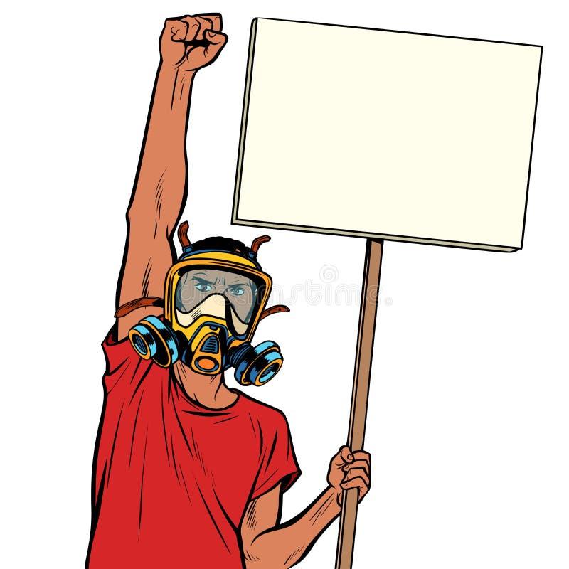 Protesta africana del hombre contra el aire contaminado, aislante en el backg blanco stock de ilustración