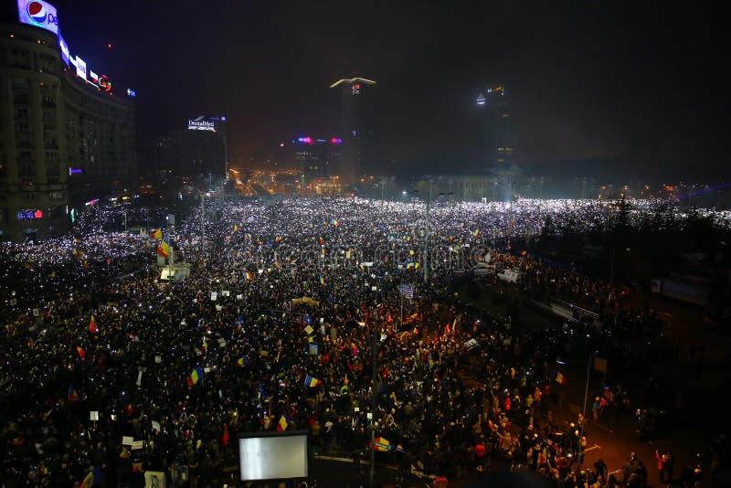 Protesta contra la corrupción y el gobierno rumano fotos de archivo libres de regalías