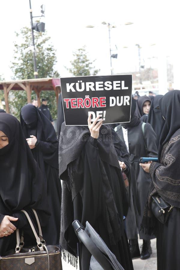 Protesta contra la masacre en Nueva Zelanda foto de archivo
