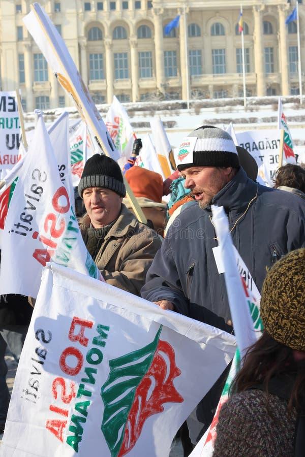 Protesta contra la minería aurífera del cianuro imagen de archivo