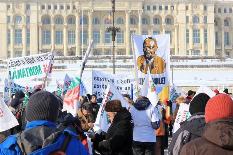 Protesta contra la minería aurífera del cianuro imagenes de archivo