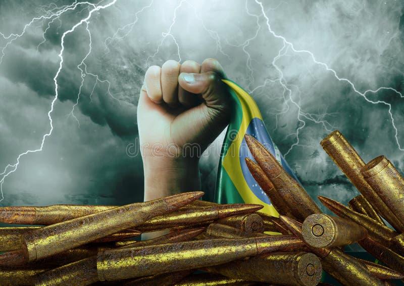 Protesta contra la violencia en el Brasil que ha devastado la población y produjo a muchas víctimas inocentes stock de ilustración