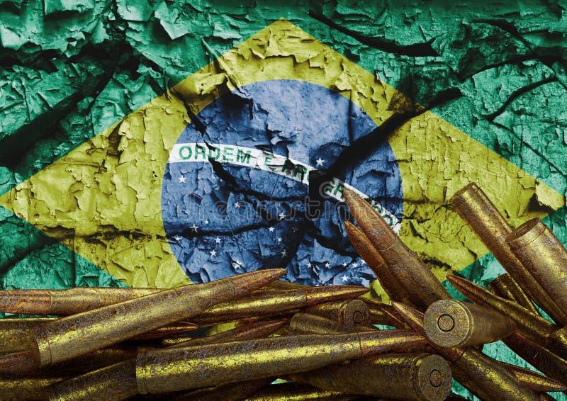 Protesta contra la violencia en el Brasil que ha devastado la población y produjo a muchas víctimas inocentes ilustración del vector