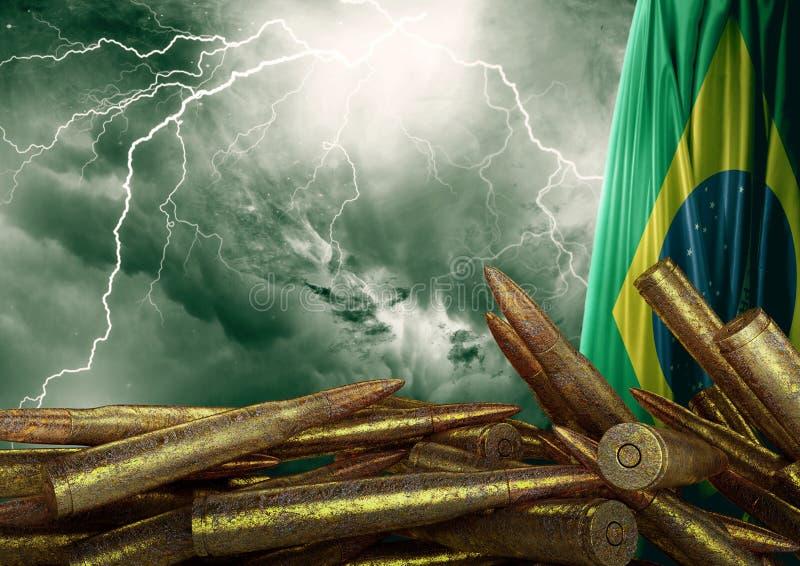 Protesta contra la violencia en el Brasil que ha devastado la población y produjo a muchas víctimas inocentes libre illustration
