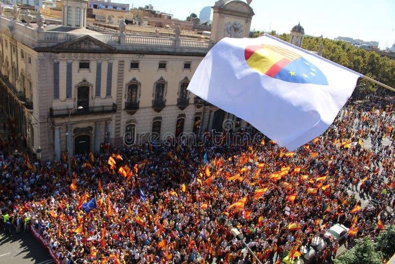 Protesta contro indipendenza catalana fotografia stock libera da diritti