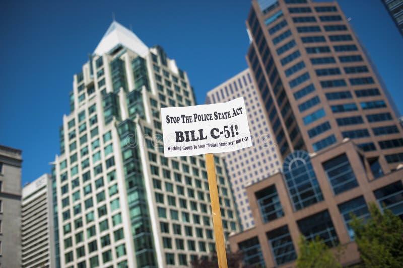 Protesta de Bill C-51 (acto del Anti-terrorismo) en Vancouver imagen de archivo libre de regalías