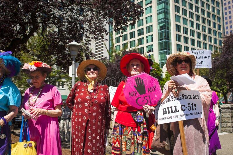 Protesta de Bill C-51 (acto del Anti-terrorismo) en Vancouver fotos de archivo libres de regalías