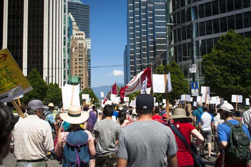 Protesta de Bill C-51 (acto del Anti-terrorismo) en Vancouver imagenes de archivo