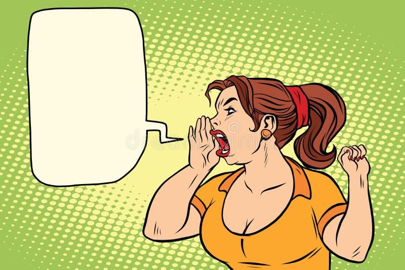 Protesta de gritos del activista de la mujer libre illustration