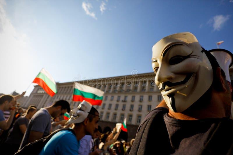 Protesta de la máscara imagenes de archivo