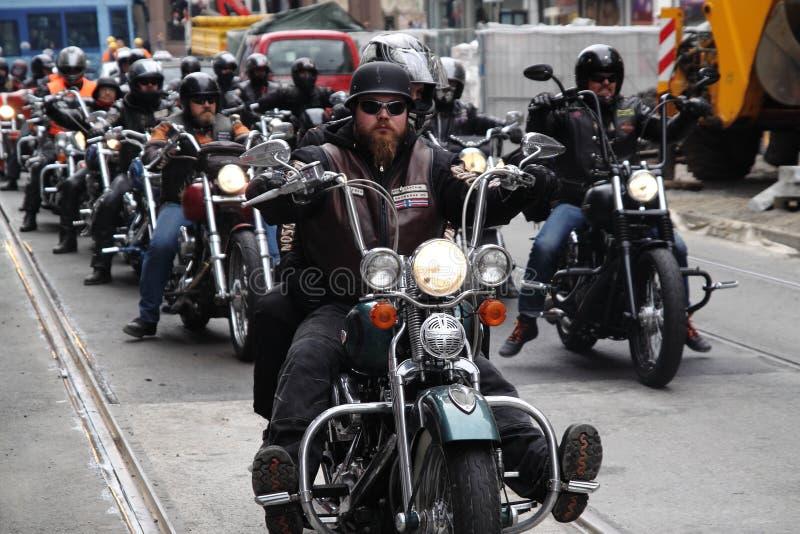 Protesta de los clubs de la motocicleta Oslo imágenes de archivo libres de regalías