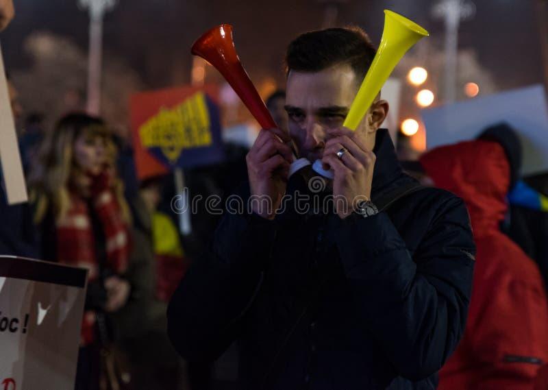 Protesta de Rumania, día 4 fotografía de archivo libre de regalías