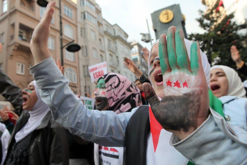 Protesta de Siria foto de archivo