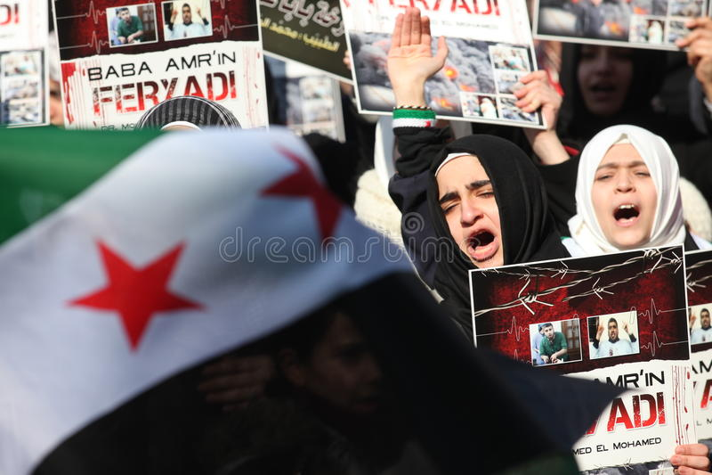 Protesta de Siria fotos de archivo