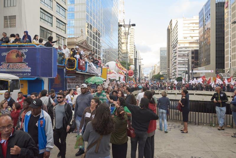 Protesta dei lavoratori a Sao Paulo fotografie stock