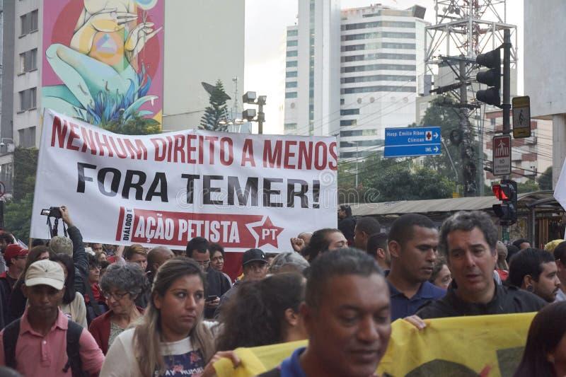 Protesta dei lavoratori a Sao Paulo immagini stock libere da diritti