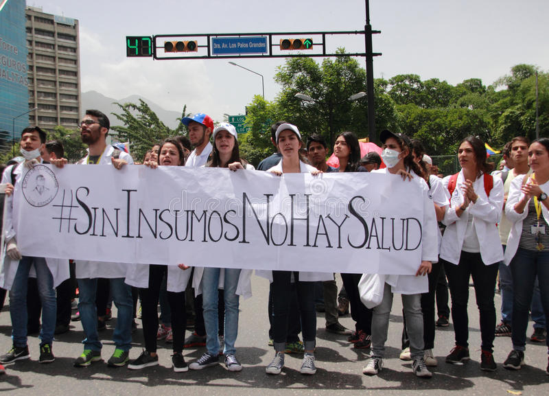 Protesta dei Venezuelans circa le scarsità della medicina fotografie stock