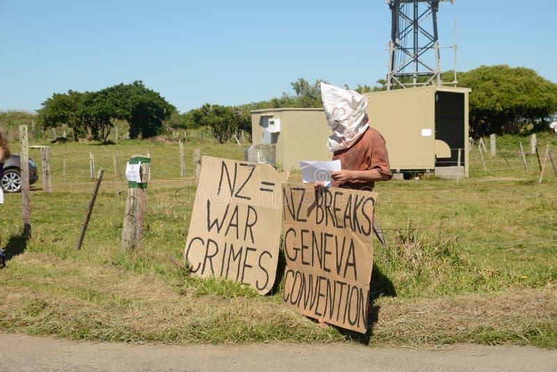 Protesta del convenio de Ginebra en Greymouth fotos de archivo libres de regalías