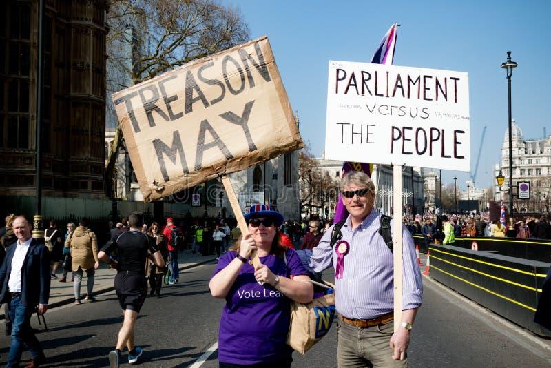 Protesta del día de Brexit en Londres fotos de archivo libres de regalías