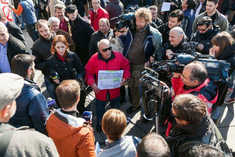 Protesta despedida de los funcionarios  foto de archivo