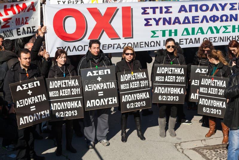 Protesta despedida de los funcionarios  foto de archivo libre de regalías