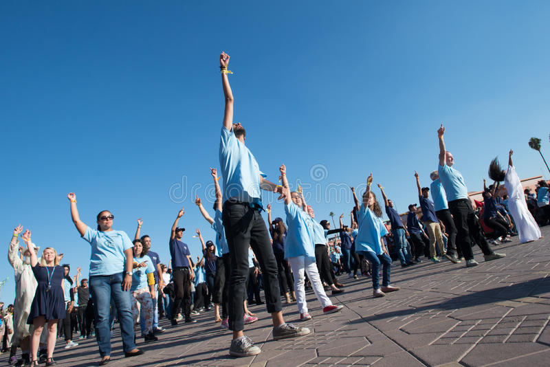 protesta di ballo della Flash-calca fotografie stock
