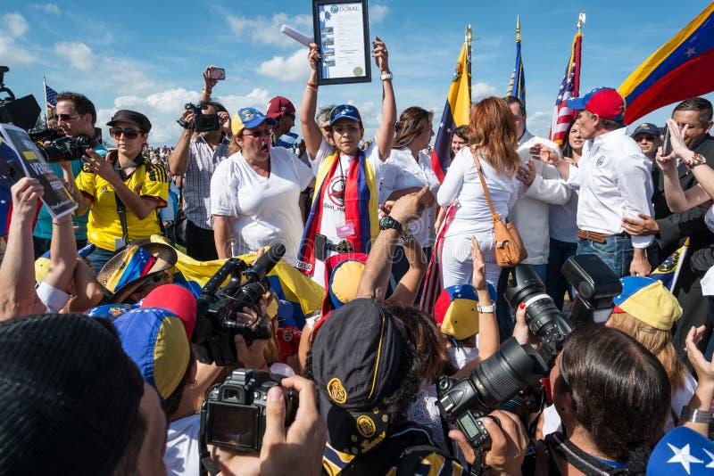 Protesta di SOS Venezuela immagini stock