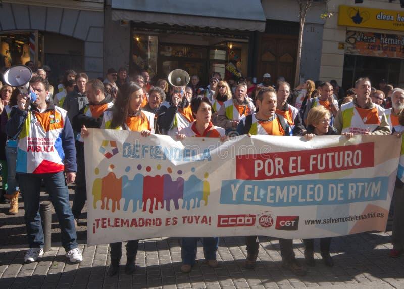 Protesta económica en Madrid, España imagen de archivo