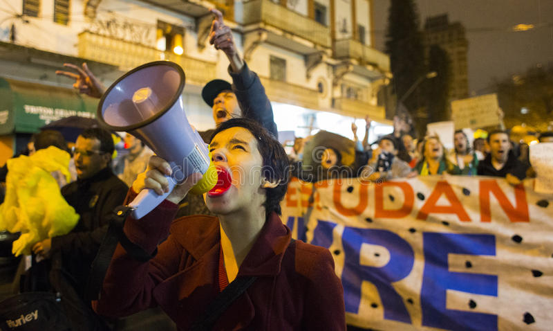 Protesta en el Brasil foto de archivo libre de regalías