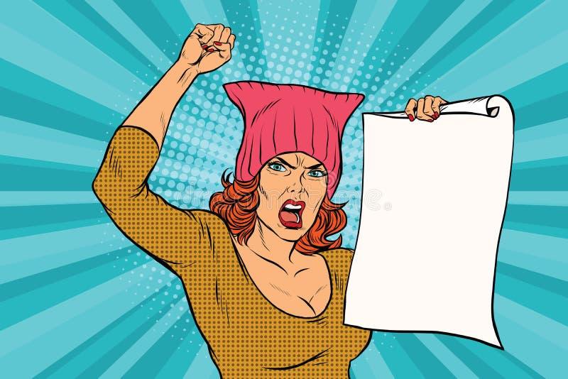 Protesta feminista de la mujer en la reunión stock de ilustración