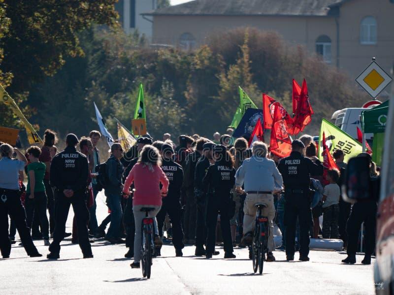 Protesta Hambacher Forst- Kerpen Buir, Germania 06 Oktober 2018 immagine stock libera da diritti