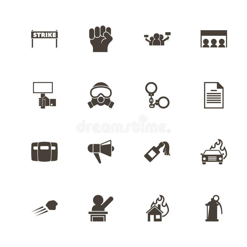 Protesta - icone piane di vettore illustrazione vettoriale