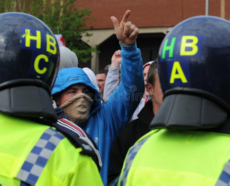 Protesta inglese della lega della difesa fotografia stock libera da diritti