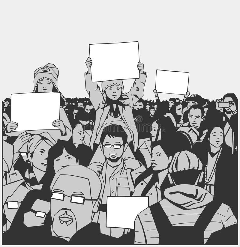 Protesta pacífica de la muchedumbre del ejemplo con los niños que llevan a cabo muestras en blanco ilustración del vector
