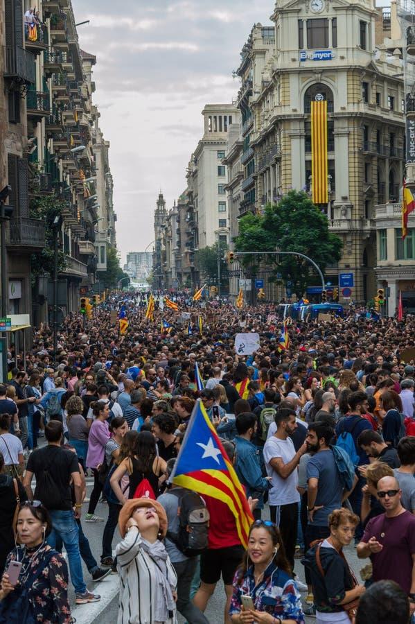 Protesta pacifica, Barcellona fotografie stock