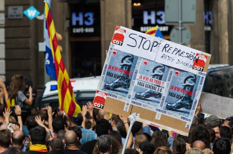 Protesta pacifica, Barcellona fotografia stock