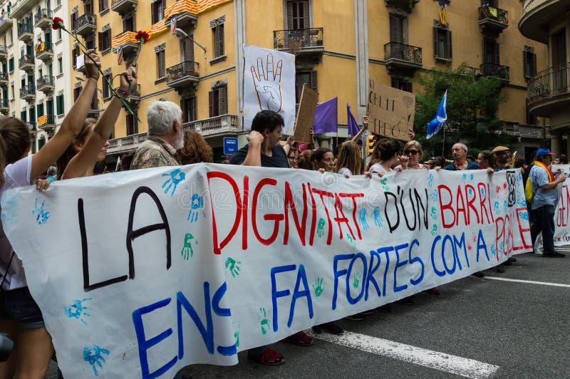 Protesta pacifica, Barcellona fotografie stock libere da diritti