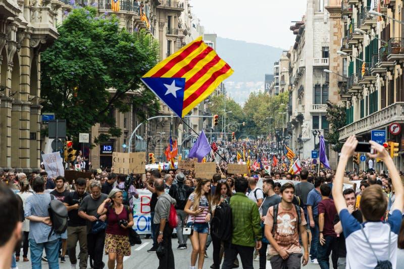Protesta pacifica, Barcellona fotografia stock libera da diritti