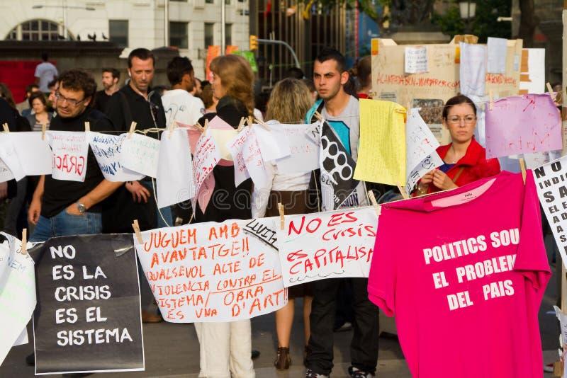 Protesta pacifica spagnola fotografia stock